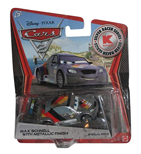 Disney Pixar CARS 2 Exclusive 1:55 Die Cast Car SILVER RACER Max Schnell With Metallic Finish