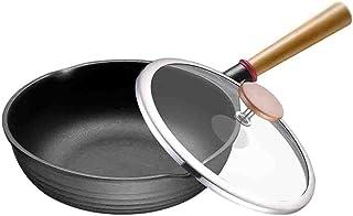XYZMDJ Hogar Mango de Madera Pan Pan Cocina Que Cocina la Cubierta Completa de anodizado Duro Antiadherente sartén con Tapa