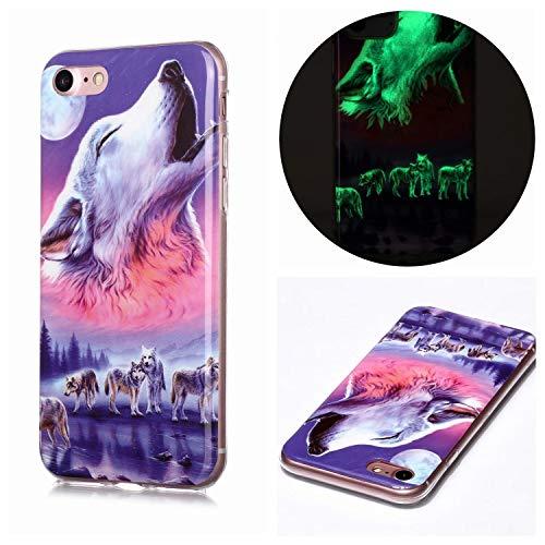 Miagon Leuchtend Luminous Hülle für iPhone 7 Plus/8 Plus,Fluoreszierend Licht im Dunkeln Handyhülle Silikon Case Handytasche Stoßfest Schutzhülle,Sechs Wolf