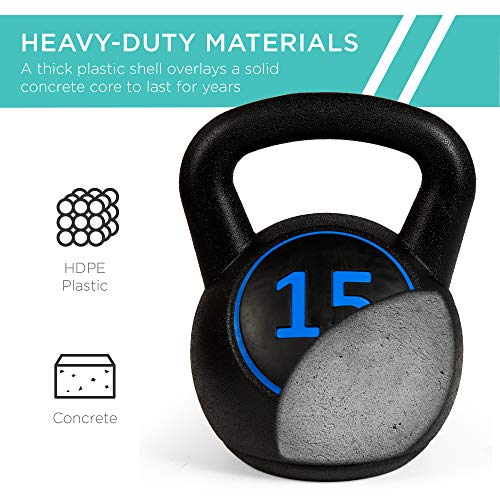 Best Choice Products 3 Piece Fitness HDPE Kettlebell