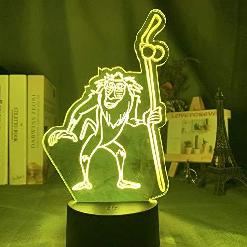 Illusion d'optique lumineuse Lampe d'illusion 3D Simba Lion King autour de la main Convient pour les enfants de la chambre, les amis, les anniversaires les cadeaux -Base noire Télécommande