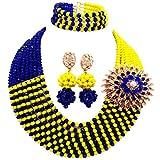 Joyería púrpura collar de perlas de la boda africana de plata joyería fija el radio de galena Royal Blue Yellow