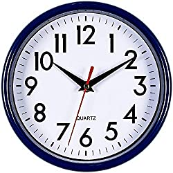 Bernhard Products Navy Blue Wall Clock 8 Silent Non-Ticking Quality Quartz Battery Operated Small Clock for Boys/Kitchen/Classroom/Office/Nursery Room Easy to Read (Navy Blue)