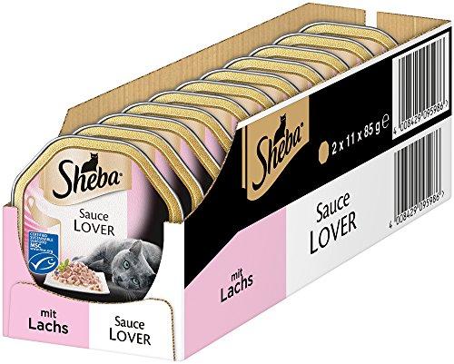 Sheba Sauce Lover Fijne hapje met sausje voor volwassenen katten, kattenvoeding in de schaal van 85 g, verschillende soorten, 22 x 85g