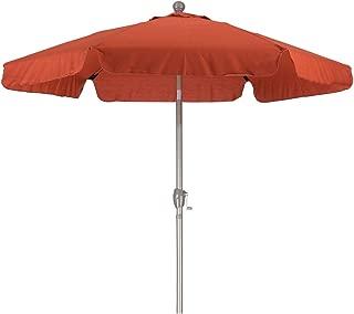 California Umbrella 7.5' Round Aluminum Pole Fiberglass Rib Umbrella, Crank Open, Push Button 3-Way Tilt, Champagne Pole, Brick Red