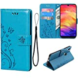 Teebo Wallet Case for Xiaomi Redmi Note 7/Redmi Note 7 Pro/Note 7S, 3 Card Holder Embossed Butterfly Flower PU Leather Magnetic Flip Cover for Xiaomi Redmi Note 7(Blue)
