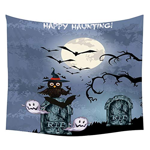 N/A Wandteppich Happy Halloween Wandbehang Süßes oder Saures TapisserieBroom Hat Rip Kerze Schädel Kürbis Ghost Spider Decor Mat Decke Tischdecke