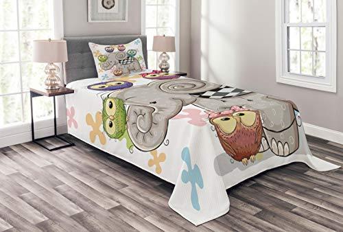 ABAKUHAUS Bunt Tagesdecke Set, Elefant und Eulen-Liebe, Set mit Kissenbezügen Waschbar, für Einselbetten 170 x 220 cm, Grau Weiß
