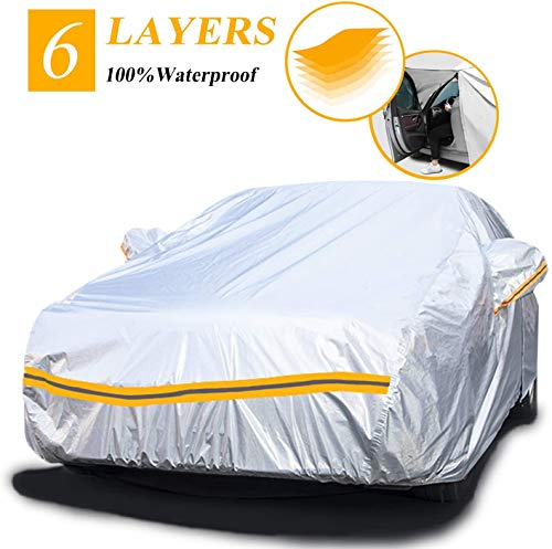 Telo Copriauto Invernale da Esterno per Hatchback, 6 Strati Copriauto impermeabile Felpato Universale con Cerniera, Lunghezza fino a 450cm