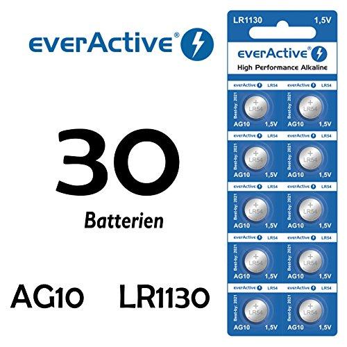 30 X Everactive AG10 LR 54 - LR1130 - L1131-189 Knopfzelle Uhrenbatterie 1,5 V