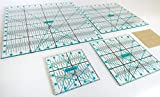 4 Pieces Super Pack Not Overpriced! Complete Quilting Rulers: 12.5x12.5, 9.5x9.5, 6.5x6.5 and 4.5x4.5 Inch. Perfect Set. Clear and Accurate Design. (4'Complete)