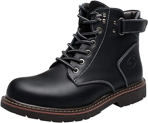 Fuxitoggo Herren Freizeitschuhe Mode Plattform Martin Stiefel Ankle Stiefel (Farbe   Schwarz Größe   38EU)