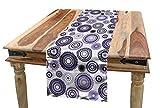 ABAKUHAUS Púrpura y Negro Camino de Mesa, Mandala, Decorativo para el Comedor o Sala de Estar Fácil de Limpiar, 40 x 180 cm, Violeta Negro Blanco