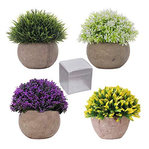 """QAQGEAR 4 Paquetes de plástico Artificial Mini arbustos topiarios en macetas Plantas Falsas Vegetación de imitación en macetas Pequeñas Plantas de Interior 4.7""""de Altura para vegetación"""