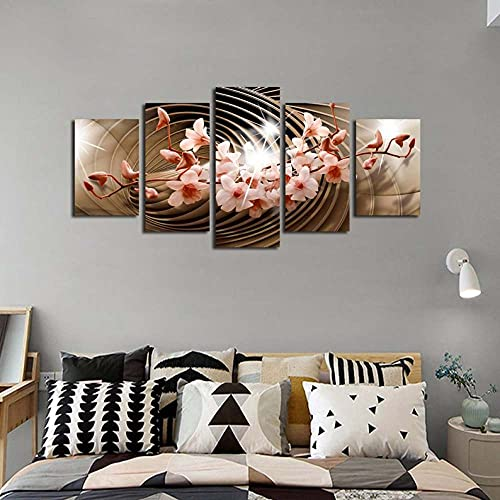 GHYTR Flor Abstracta Lienzo 5 Piezas Abstracto Pared Arte Pintura Grandes Cuadros Marco 150×80Cm Cartel Pared Decoracion Hogar Murales Pared Sala Dormitorio Regalo