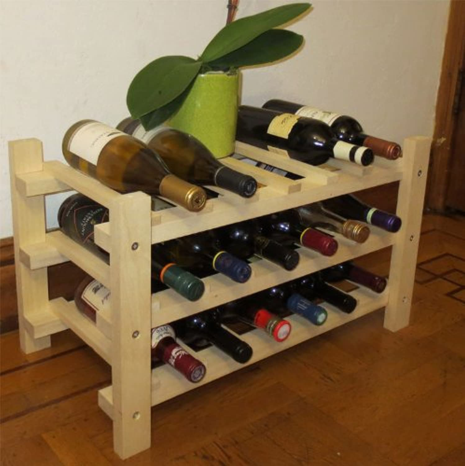 18 Bottle Capacity Wine Rack Storage Shelves, Solid Wood, WN18 by DisplayGifts