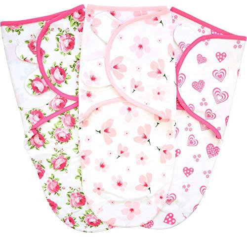 Mama Cheetah Baby Swaddle Blanket, Adjustable Newborn Wrap, 3 Pack Soft Organic Cotton, 0-3 Month, Pink/Green