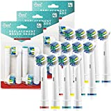 Replacement Brush Heads for Oral B- Professional Flossing Toothbrushes Compatible with Oralb Braun Electric Toothbrush- Pack of 12- Fits The Oral-B 7000, Pro 1000, Action, & More