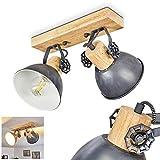 Plafoniera orientabile Orny, in metallo/legno in grigio/bianco/marrone, 2 luci, attacco lampadine E27 max. 60 Watt, in stile retrò/vintage, adatta per lampadine a LED