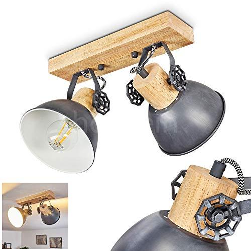 Deckenleuchte Orny, Deckenlampe aus Metall/Holz in Grau/Weiß/Braun, 2-flammig, mit verstellbaren Strahlern, 2 x E27-Fassung max. 60 Watt, Spot im Retro/Vintage Design, für LED Leuchtmittel geeignet