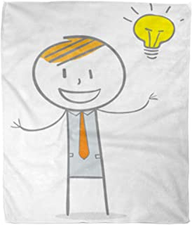 Golee Throw Blanket Yellow Man Doodle Stick Figure Businessman Big Idea Character Thinking 60x80 Inches Warm Fuzzy Soft Blanket for Bed Sofa