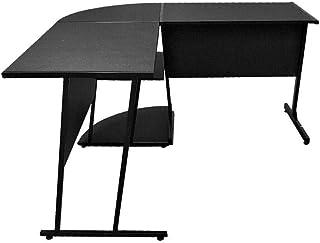 Danube Home Hanna Corner Office Desk, Black - Size : L140 x W140 x H75 cm
