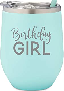 Birthday Girl | 12 oz Mint Stainless Steel Vacuum Insulated Wine Tumbler with Lid and Straw (ENGRAVED) | Birthday Wine Tumbler for Her 21st, 25th, 30th, 35th, 40th, 50th, 60th, 70th, 80th