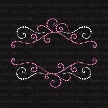 Pink Swirls Frame Iron On Rhinestone and Rhinestud Transfers for T-Shirts by JCS Rhinestones