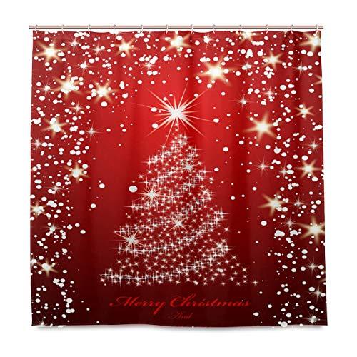 Wamika Weihnachts-Duschvorhang mit Goldenem Baum für Das Badezimmer, Heimdeko, Winterjahr, Urlaub, Stoff, schimmelresistent, wasserfest, mit 12 Haken, 183,0 cm x 183,0 cm