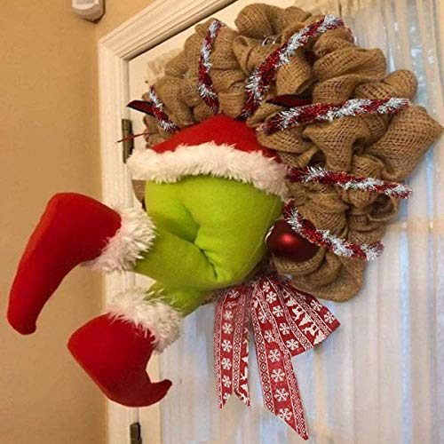 SSPalu Christmas Decorations 15.7 Inches Christmas Thief Stole Christmas Grinch Burlap Pose-able Plush Legs for Christmas Decorations Stuffed Legs Toy Doll for Christmas TRE (Wreath, 14 Inches)