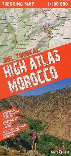Alto Atlas de Marruecos, toubkal. Incluye mapas de Sahara occidental y Marrakech. Escala: 1:100.000. Mapa excursionista plastificado. terraQuest.: TQU.070 (Trekking map)