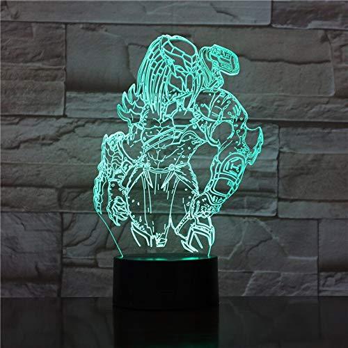 Predator Alien vs Wolf Predator 3D LED Night Light Table Lamp Bedside Decoration Kids Gift