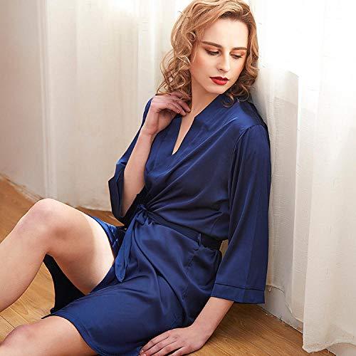 LRJZFX Bademäntel für Damen Weich und gemütlich Bademantel Nachthemd Damen Unterwäsche Herbst Winter Pyjama-Dark Blue_XL