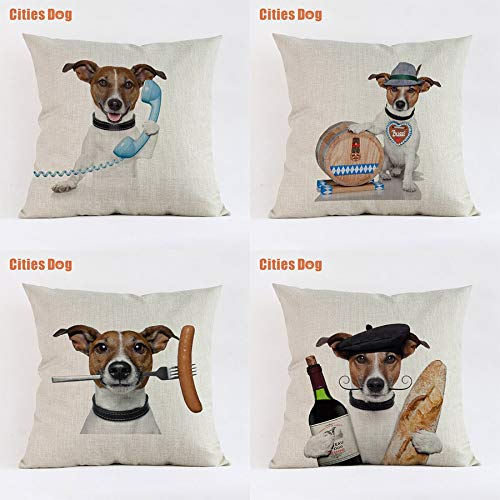 LEV Cushion Cover - Jack Russell Terrier Animal Cushion Sofa Cover Pillows Decorative 2018 New Year Decoration Gift Pillowcases almofada Cojines - by 1 PCs