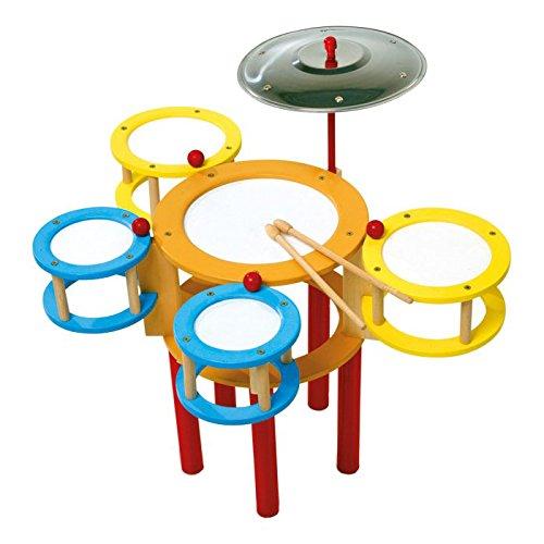 small foot 4537 batterie en bois, en couleurs vives avec 5 tambours, cymbales et 2 baguettes, à partir de 3 ans