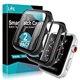 [2 Pack] LϟK Case for Apple Watch 42mm Series 3/2/1 Built-in Tempered Glass Screen Protector, All-Around Ultra-Thin Bumper Full Cover Hard PC Protective Case for iWatch 42MM - Black