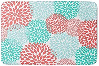 Aomsnet Coral Seafoam Teal Dahlia Home Decor Bathroom Decor Mat, Shower Rug Mat Water Absorbent Fast Drying Kitchen, Bedroom, Hotel, Spa Tub. 30