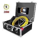Cámara de Tubo 20M Profesional Endoscopio Industrial para Drenaje Alcantarilla Cámara de inspección de video para Desagüe Tubería IP68 Impermeable Cámara de Plomería con 7' 1080P HD LCD