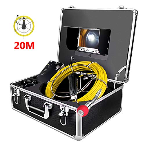 "Rohrkamera mit Licht 20m Kanalkamera Rohr-Inspektionskamera Wasserdicht IP68 Pipeline Video Inspektionssystem Industrie Rohr Endoskop Kanal Kamera mit 7\"" LCD-Monitor/1000TVL"