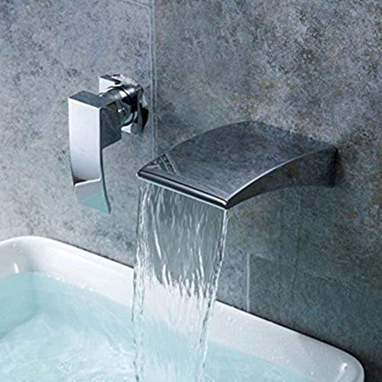 Wasserhahn Küche Waschbecken Badezimmer Wasserhahn Zeitgenssische Chrom Einhebel 2 Lcher Messing Wandmontage Wasserfall Einhebel Waschbecken Wasserhahn für Badezimmer Küchenarmatur