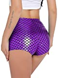 RIKKI Women's Shiny Mermaid Fish Scale Hot Pants Mini Shorts (Medium, Purple-1)