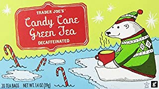 Trader Joes Candy Cane Green Tea Decaffeinated 20 Tea Bags, a Holiday Favorite with Peppermint,vanilla and Cinnamon Flavor...