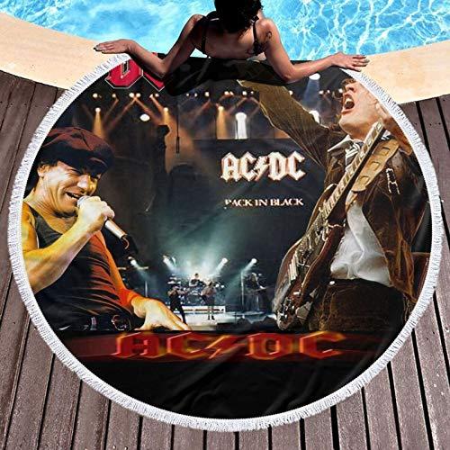 AC-DC - Toalla de playa redonda de microfibra para niños, mujeres, niñas y niños