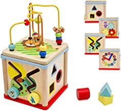 Pidoko Kids Wooden Activity Cube for Toddlers - Fun Learning & Educational Toy Gift Activities for Baby Boys and Girls