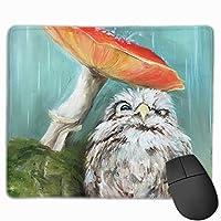 マウスパッド かわいい フクロウ きのこ 油絵 Mousepad ミニ 小さい おしゃれ 耐久性が良 滑り止めゴム底 表面 防水 コンピューターオフィス ゲーミング 25 x 30cm