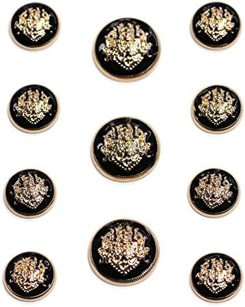 Sets of Bright Gold and Black Enamel Suit Buttons