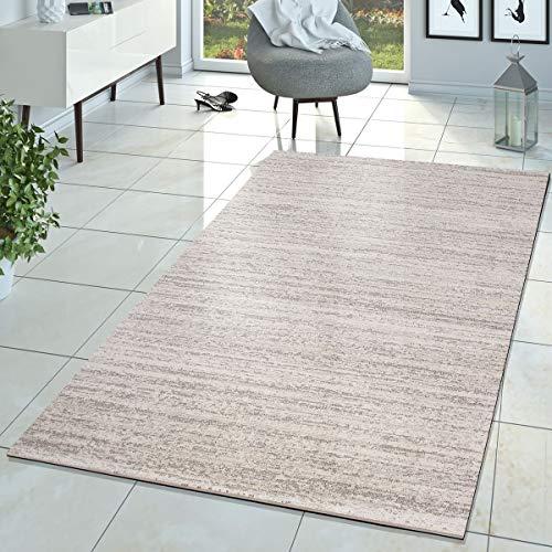T&T Design Teppich Braga Modern Kurzflor Teppiche Wohnzimmer Einfarbig Meliert Uni Creme, Größe:160x220 cm