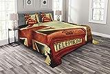 ABAKUHAUS Reise Tagesdecke Set, Big Ben England London, Set mit Kissenbezügen Waschbar, für Doppelbetten 220 x 220 cm, Rot Beige