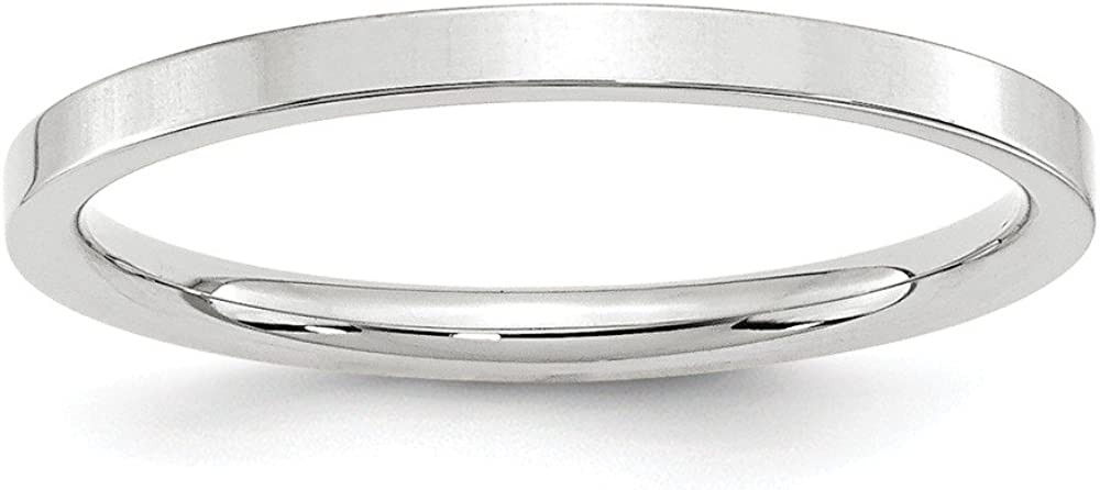 10 White Gold 2mm Standard Flat Comfort Fit Wedding Ring Band Size 5 Classic Fashion Jewelry For Women Gifts For Her