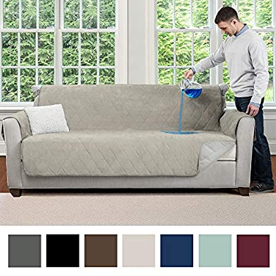 MIGHTY MONKEY Premium Water and Slip Resistant Large Sofa Protector, Seat Width Up to 70 Inch, Absorbs 6 Cups of Water, Oeko Tex Certified, Furniture Slipcover, Cover for Couches, Dogs, Sofa, Taupe